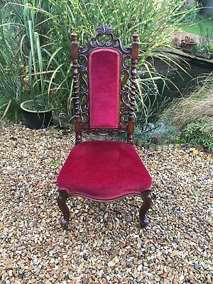Victorian carved oak high back hall chair