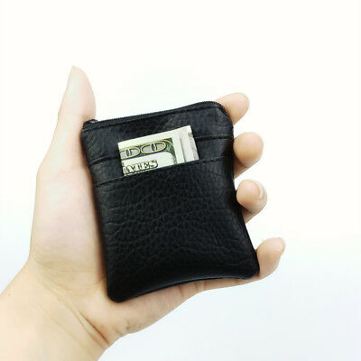 New Men Women Soft Leather Coin Purse Wallet Bag Change Pouch Key Card Holder