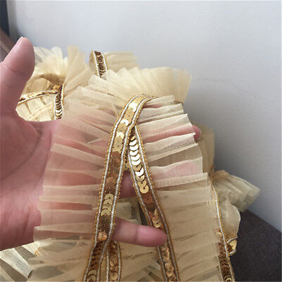 2yds Gold Sequins Lace Trim Gauze Ruffle Ribbon Fabric Costume DIY 4.5cm Width