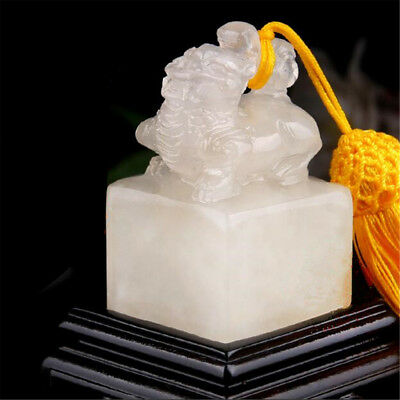 Frozen Jade Stone Brave Troops Carving Seal Sculpture Name DIY Stone Jade Seal