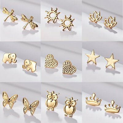 New Fashion Women's Girls Gold Heart Sun Animal Earrings Cute Ear Stud Jewellery