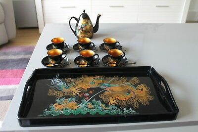 Vintage Japanese Black & Gold Lacquer Tea set with Tray