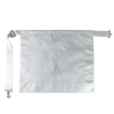 Masonic Entered Apprentice LEATHER White Apron with Compass & Square Decoration