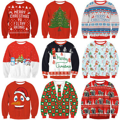 Unisex Christmas Xmas Jumpers Funny Novelty Mens Ladies Vintage Knitted Sweaters
