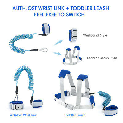 Toddler Child Kids Safety Anti-Loss Harness Wrist Link Hand Strap Leash Band Set