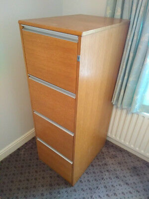 4 Drawer beech-veneer wood filing cabinet, lockable with steel drawers