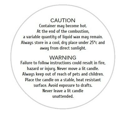 Candle Warning Labels White Gloss