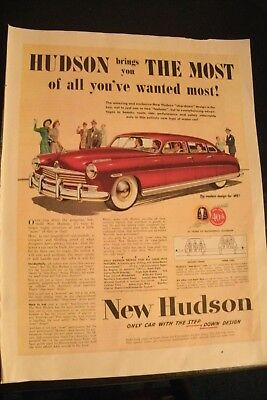 1949 Hudson: Only Car with the Step-Down Design Original Vintage Ad