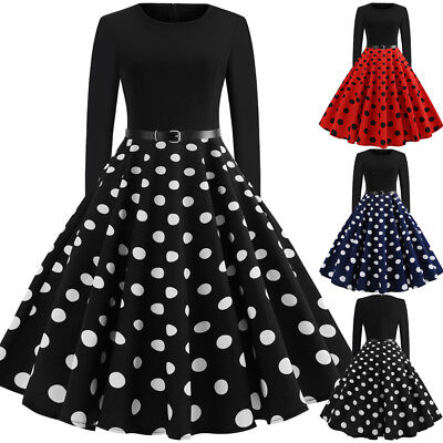 AU Womens 60s Vintage Retro Rockabilly Party Ladies Belted Polka Dot Swing Dress
