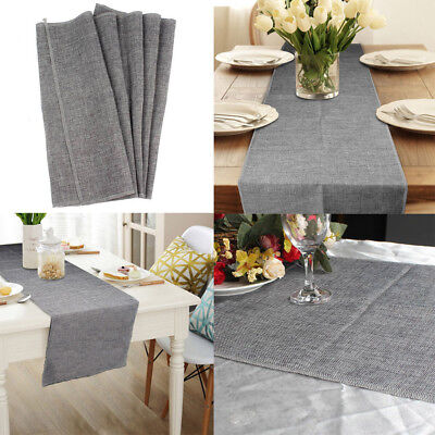 Simple Style Burlap Table Runner Imitated Linen Table Cloth Home Wedding Decor