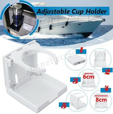 New Car Folding Drink Cup Mount Holder Boat Marine Caravan RV Adjustable White