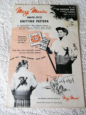 Original Vintage 1957 Mary Maxim Graph Knitting Pattern No.442 The Pheasant Hunt