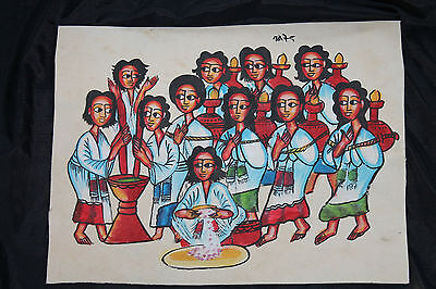 Äthiopien: Leder-Gemälde, traditionell! Ethiopia: Leather Painting, traditional!