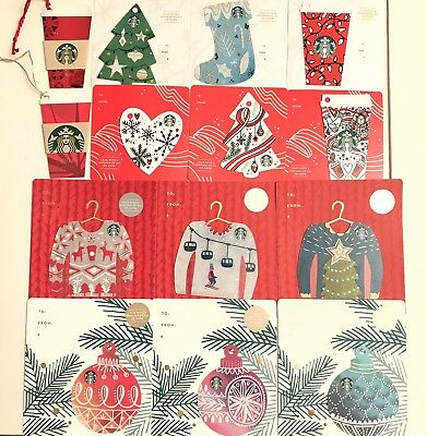 14 Starbucks Cards Holiday Christmas 2016 2017 Mini Ornament Ugly Sweater Lot