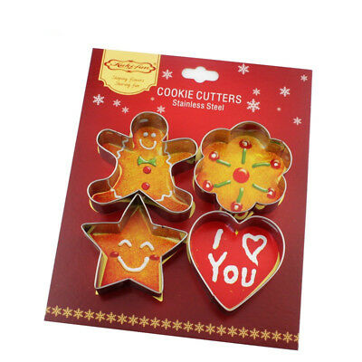 4PCS Christmas Stainless Steel Gingerbread Man Baking Mould Cookie Cutter Tool