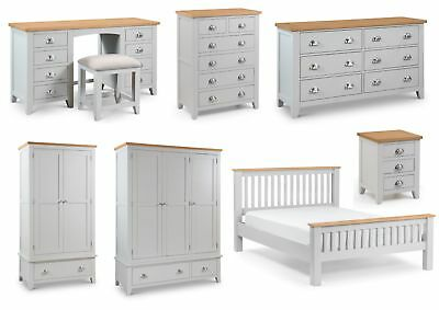 Julian Bowen Richmond Solid Oak Bedroom Furniture - Grey, Oak Tops Metal Handles