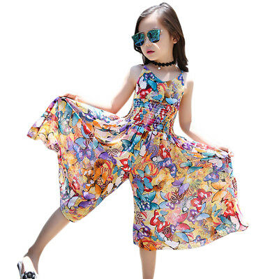 Kids Girls Sleeveless Floral Wide Leg Siamese Pants Chiffon Jumpsuit Boho Dress
