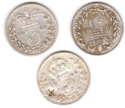 Queen Victoria & King Edward 7 set, 3 solver three pence