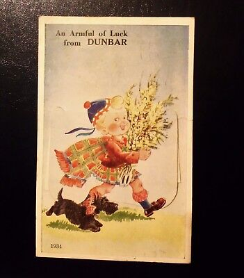 Vintage 12 View Pull Out Postcard(Armful Of Luck) Dunbar East Lothian 1952