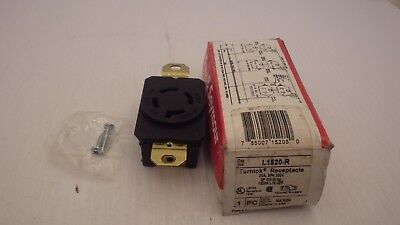 Pass & Seymour L1520-R Turnlock Receptacle 20A 3Ph 250V 3P 4W Grdg, Nib