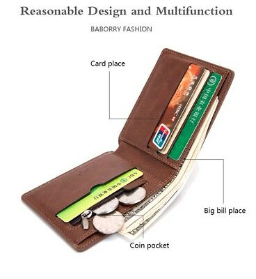Mens Slim Leather RFID Blocking Bifold Wallet Coin Pocket Credit Card Protector