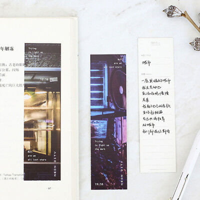 30Pcs Vintage Neon City Paper Bookmark Message Card School Stationery Gift CB