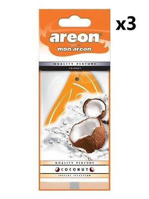 3x Areon MON *Coconut* Car Air Freshener Quality Perfume