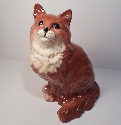 Cute Vintage Beswick Large Ginger Persian Cat #1867 Gloss Finish with Sticker