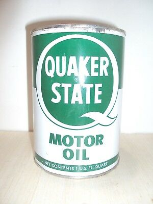 Vintage Metal Quaker State Oil Can 1 Qt Full