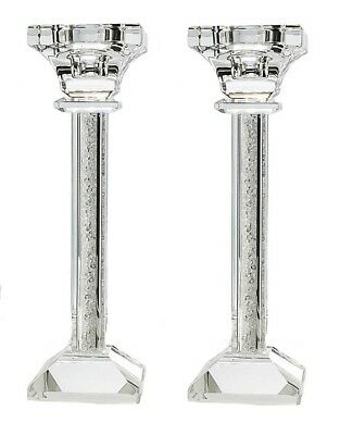 Square Crystal Filled Candlestick Glass Candle Holder Pair