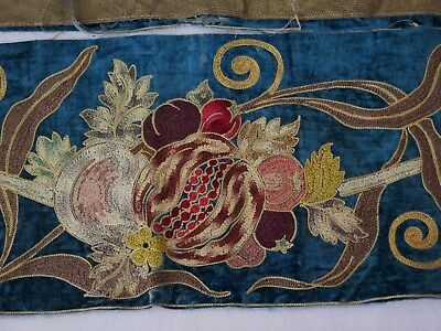 French Antique c1840 Napoleon III Hand Embroidered Silk On Silk Velvet Border