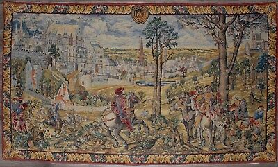 """Large Antique/ vintage French WallHanging Tapestry Maximillen Hunting 79"""" by 46"""""""