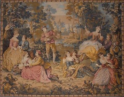 """Magnificent Large Antique/ Vintage French Wall Hanging Tapestry 72"""" x 61"""""""