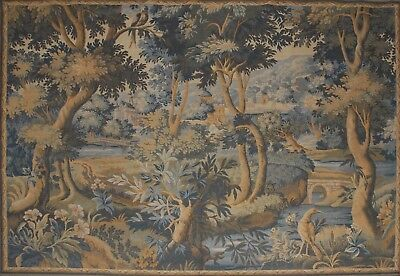 "Large Vintage French Woven Wall Tapestry Verdure 78"" x 59"""