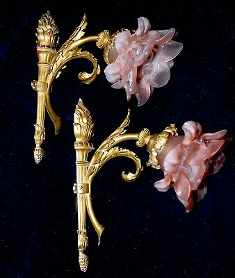 Pair Of Fantastic Vintag French Ormolu Bronze/ Brass Sconces Torch Rose Branches