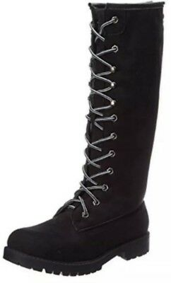 Madden Girl NEW Yumi Black Micro Suede Tall Motorcycle Boots 6.5 M Retail $99