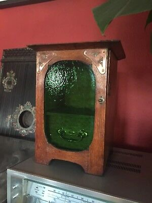 Small Antique Art Nouveau Pipe / Tobacco Cupboard with Green Glass Door