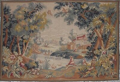 """Large Vintage French Woven Wall Tapestry Verdure Point De L'Halluin 53"""" x 36"""""""