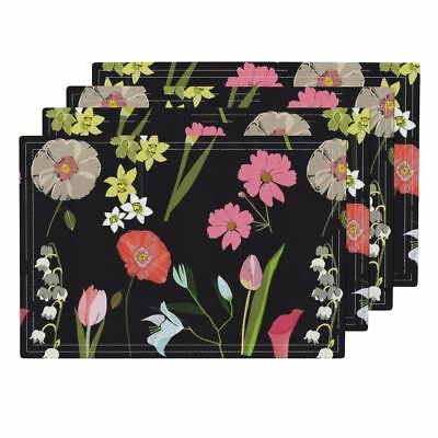Cloth Placemats Cut Flowers Stem Flowers Flowers High Tea Party Pretty Set of 4