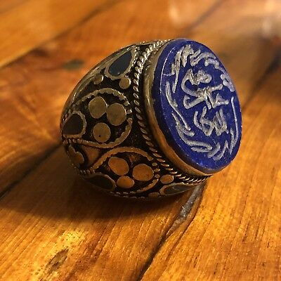 Rare Middle Eastern Lapis Lazuli Signet Ring Silver? Ancient? Medieval? Islamic