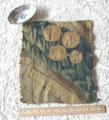 "Antique European Vedure Handwoven Wool Tapestry Fabric c1500s-1600s~12.5""X10.5"""