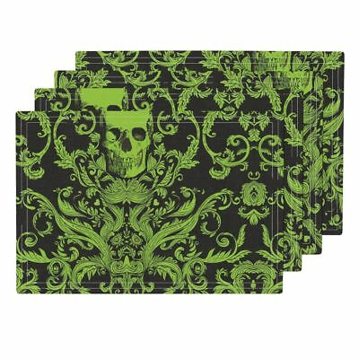 Cloth Placemats Damask Green Macabre Halloween Skull Skulls Set of 4