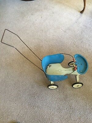 Vintage Carriage Buggy Baby Doll Stroller  Toy Pressed Steel