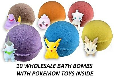 10 Wholesale Bath Bombs For Kids with POKEMON Toys Inside Great Party Favor 5oz