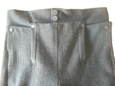 "Drop Front Trousers - Grey Wool - 34"" Waist"