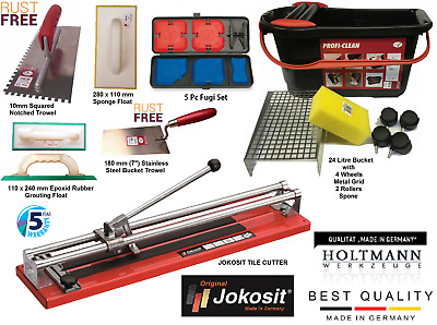 Tiling Kit Tile Cutter 800mm & 24L Bucket 4pc Fugi Kit, Trowel, Float Tiler KIT