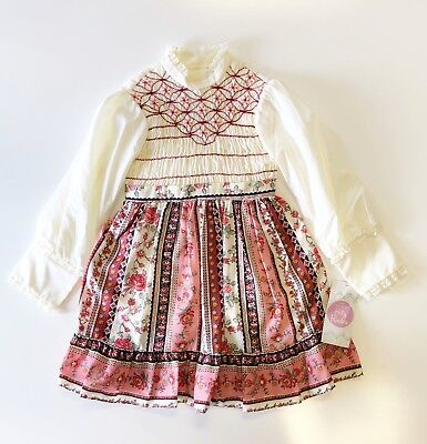 NWT Vintage Polly Flinders Size 6X Girls Maroon Smocked Dress Costume Fall