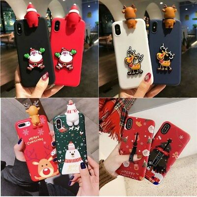 Various 3D Christmas Case Xmas Santa Gift Cover For iPhone XS Max XR X 8 7 Plus