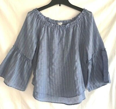 Westport Boho Off On Shoulder Blue Stripe Lined Top Blouse Bell Sleeves Womens M