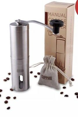 DH2 Manual Coffee Grinder with Ceramic Burrs, Brushed Stainless Steel, FDA appro